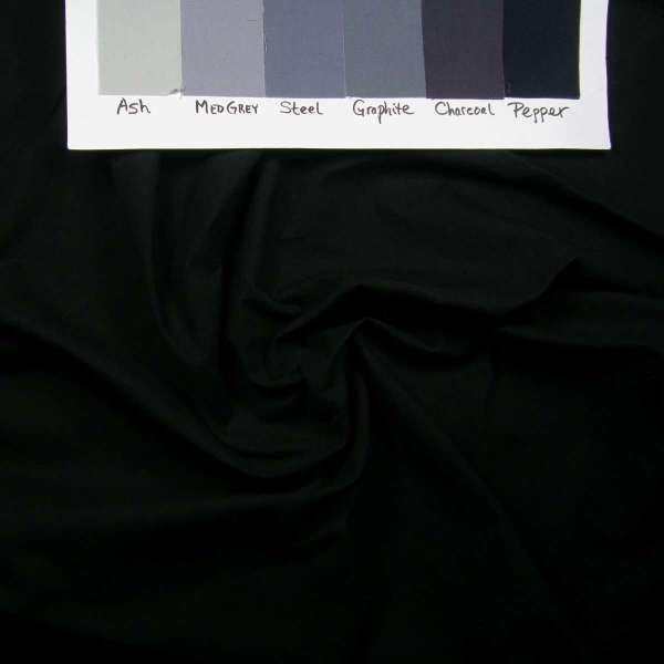 Ultra dark grey (black) evening ink on Kona fabric