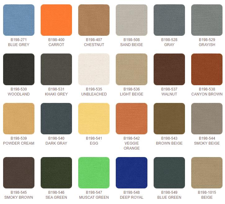 """Big Sur Canvas is 100% cotton, 44"""" wide, 9.6 oz per square yard."""