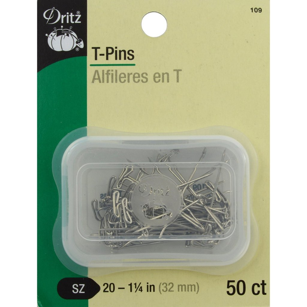 "T-pins, Dritz, size 20, 1-1/4"" long"