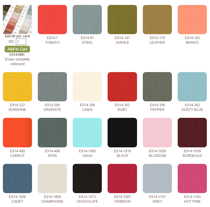 """Essex Linen Blend is 55% LINEN, 45% COTTON, 43"""" wide, 5.6 oz per square yard. The price per 15-yard bolt is $98.70, or $6.58 per yard."""