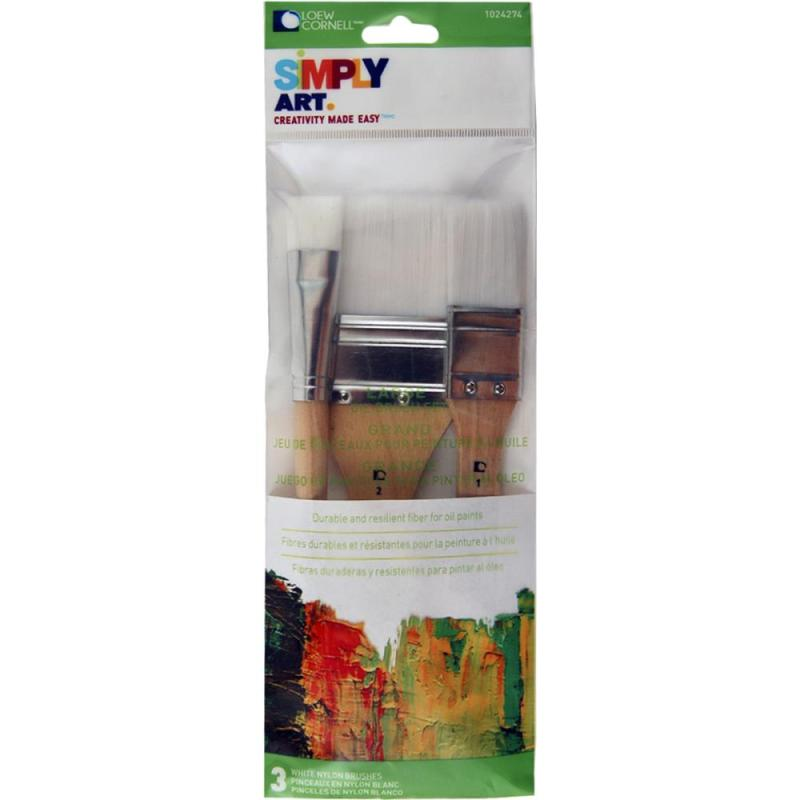 3 piece white nylon brush set