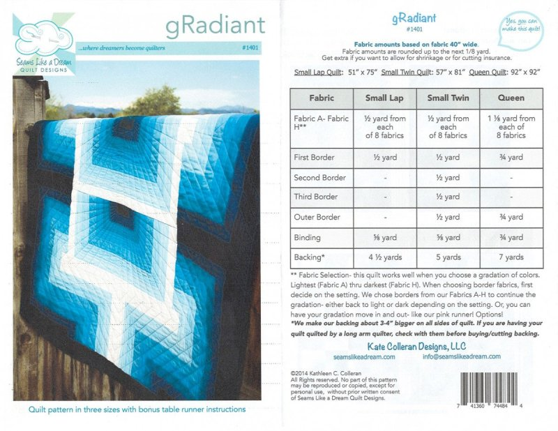 Front and back of gRadiant pattern