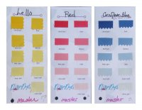Sample three colors in swatch book