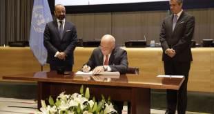 Ceremonia de la firma del Tratado sobre la Prohibición de las Armas Nucleares. Foto: UNODA