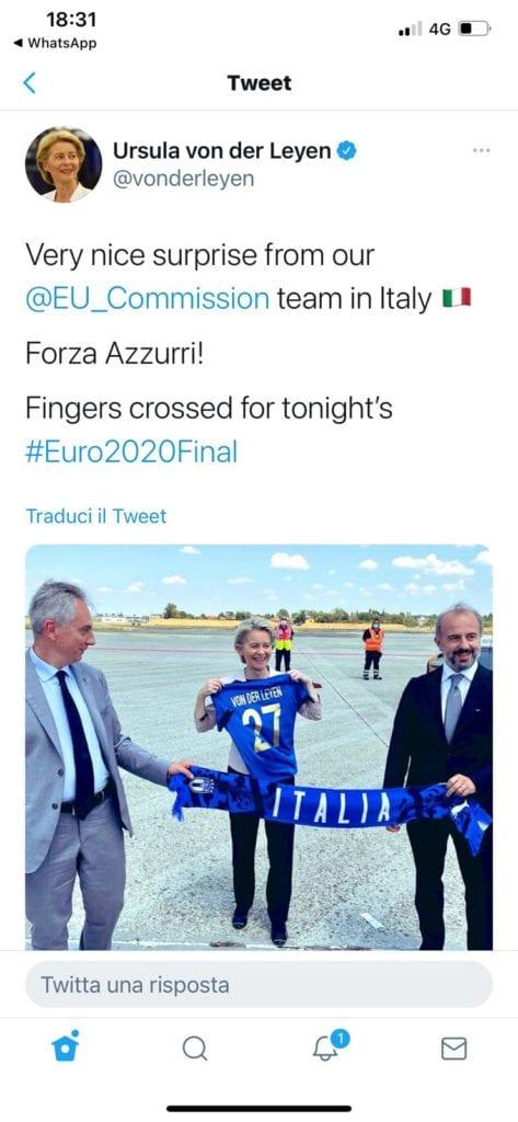 von der leyen maglia azzurri tweet