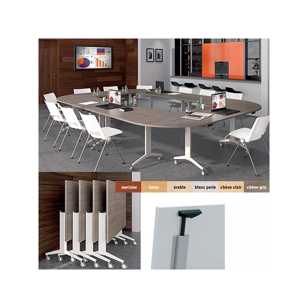 table de reunion mobile rabattable elegance 160 x 80 cm