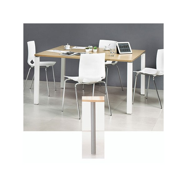 table de reunion carree 140 x 140 cm pieds tubes