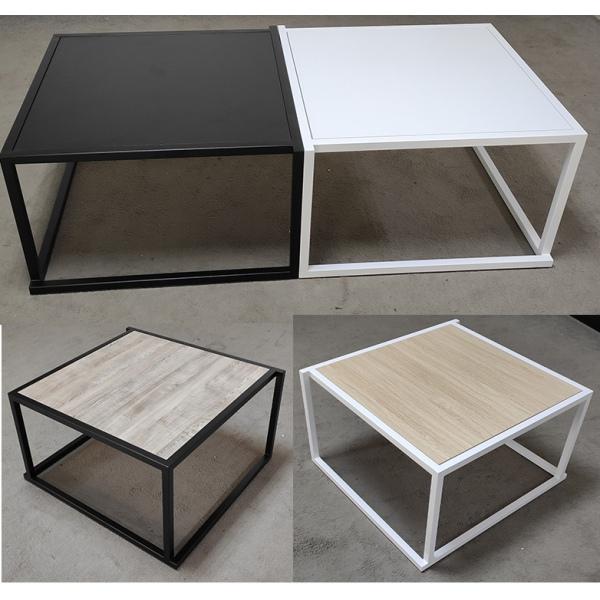 lot de 4 tables basses empilables avec plateau carre mdf