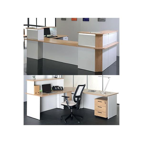 bureau d accueil confort angle 90 avec rehausse 80x80 cm