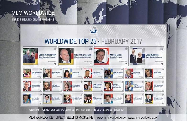 PM International WORLDWIDE TOP 25 Februar 2017