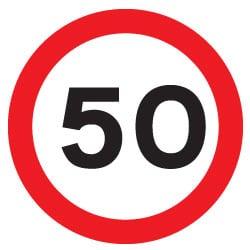 50 mph traffic sign
