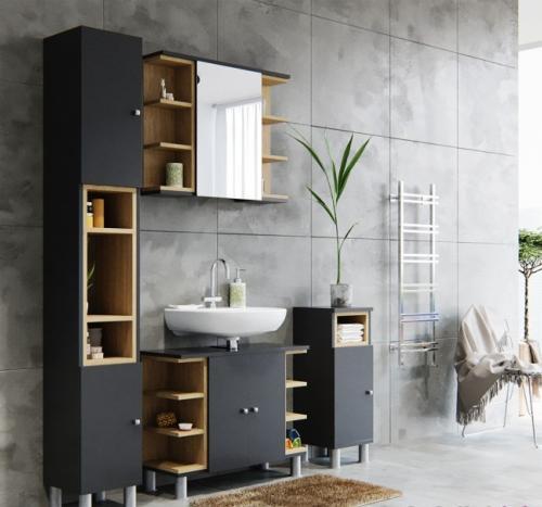ensemble salle de bain complet anthracite modele major