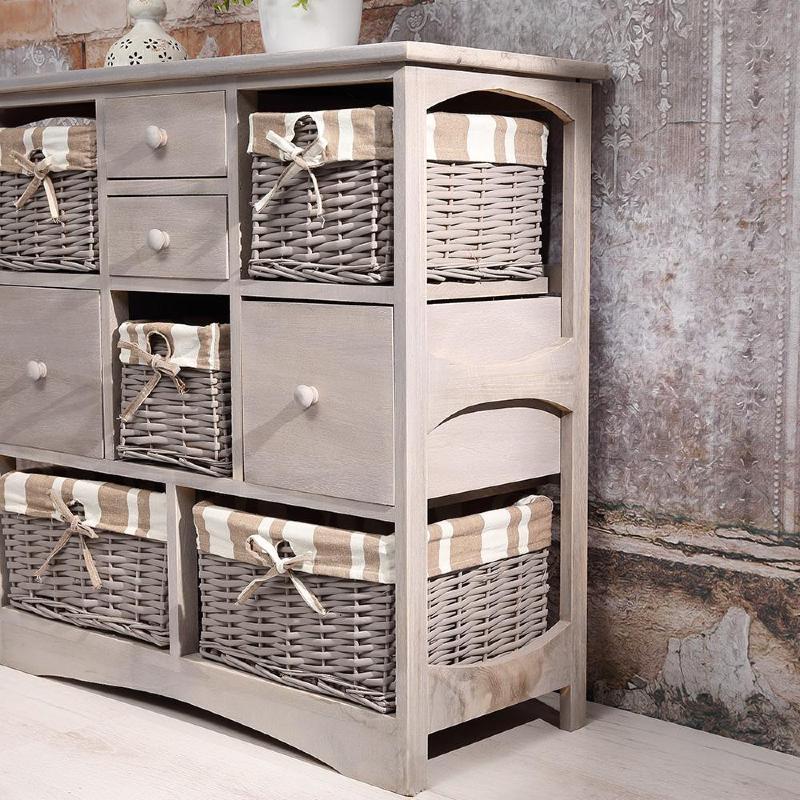 Commode grise style ancien en bois 4 tiroirs et 5 paniers