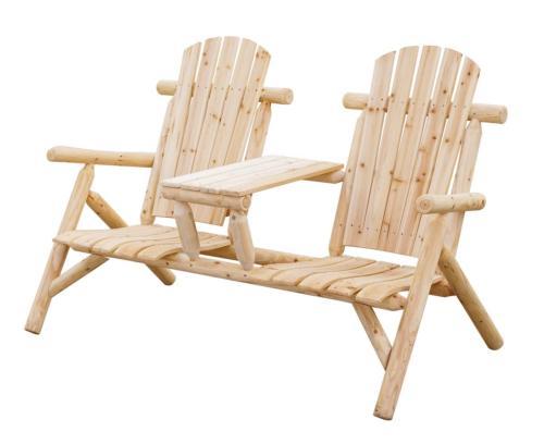 fauteuil de jardin double en pin massif design rustique