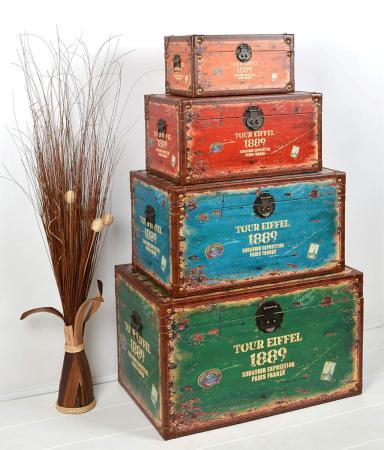 coffre rangement bois vintage 4 modules