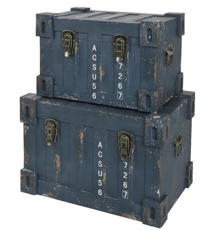 coffre rangement vintage x 2 style vieux container industriel