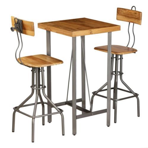ensemble table bar 2 personnes en teck et metal