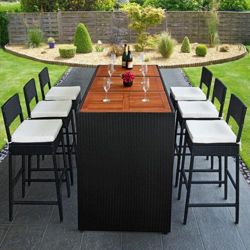 bar de jardin en resine tressee noir et bois exotique 6 tabourets