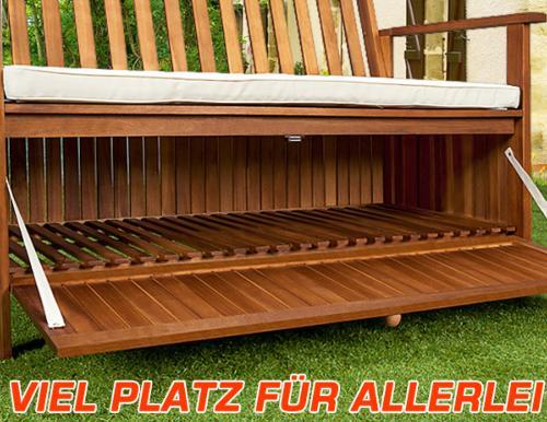 banc de jardin bois exotique 120 cm avec coffre de rangement