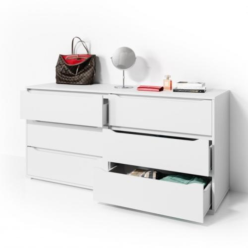 commode chambre 160 cm blanche modele pise xl