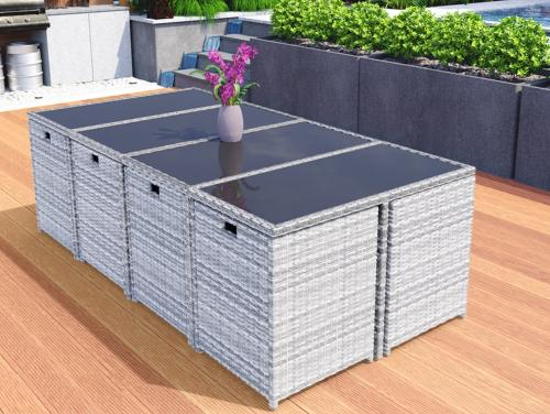 salon de jardin resine tressee gris encastrable 4 a 16 places