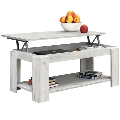 table basse blanc marbre gris 100 cm plateau relevable galion