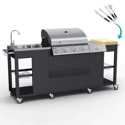 barbecue gaz inox meuble cuisine exterieur