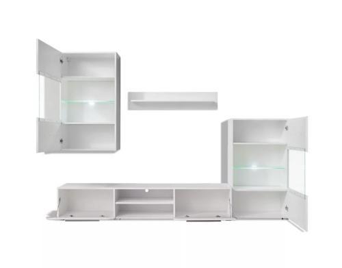ensemble meubles tv blanc laque 240 cm eclairage led regina