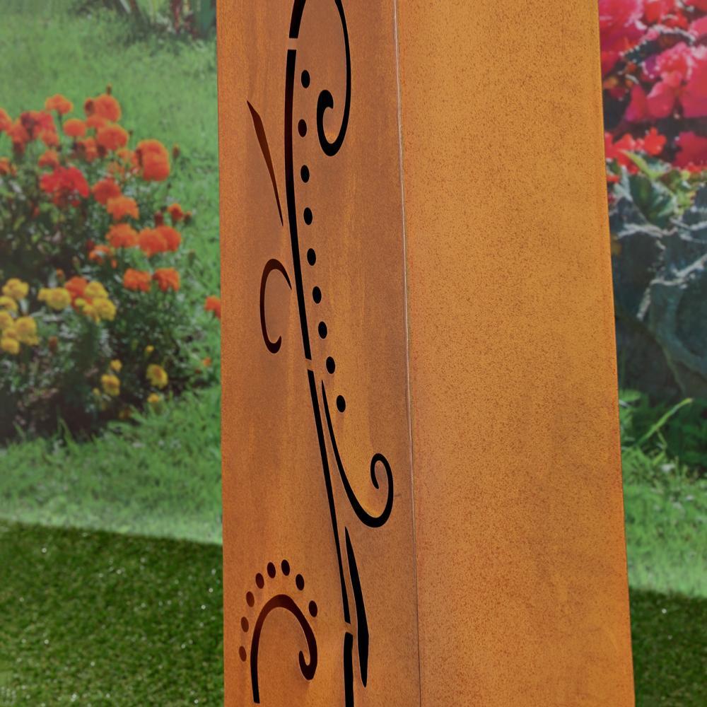 COLONNE dcoration jardin en mtal galvanis couleur rouille