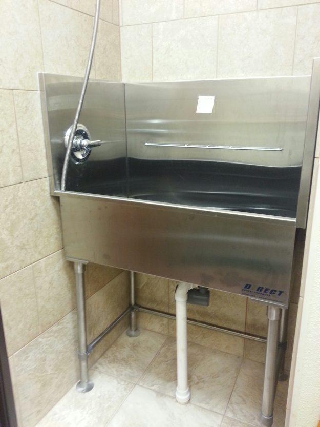 stainless steel elevated grooming tub