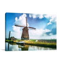 Traditional Dutch Windmill Art Print | Large Wall Canvas
