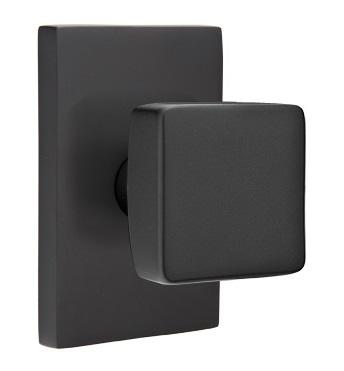 Emtek Square Modern Door Knob with Modern Rectangular Rosette