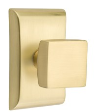 Emtek Square Modern Door Knob with Neos Rosette