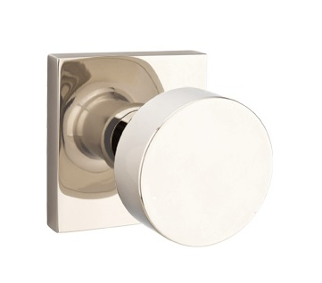 Emtek Round Modern Door Knob with Square Rosette