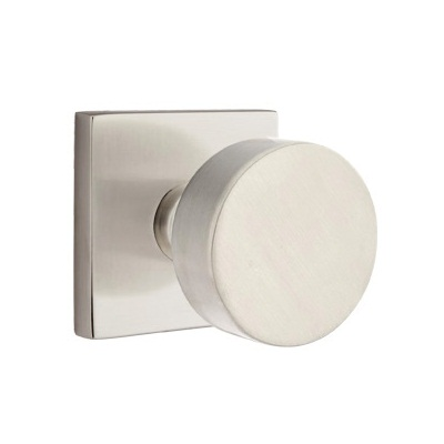 Emtek Modern Round Door Knob with Square Rosette