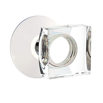 Emtek Square Crystal Knob with Modern Rosette