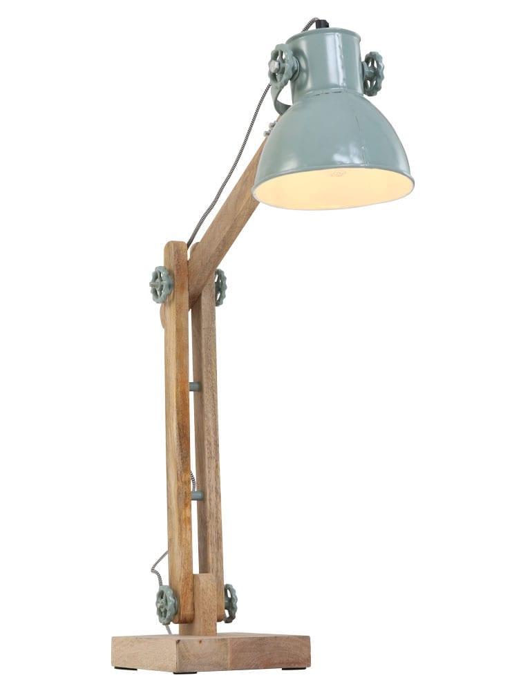 Houten tafellamp met mintgroene kap  Directlampennl