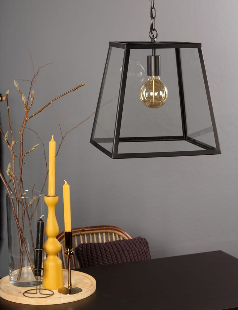 Vierhoekige hanglamp zwart met glas  Directlampennl