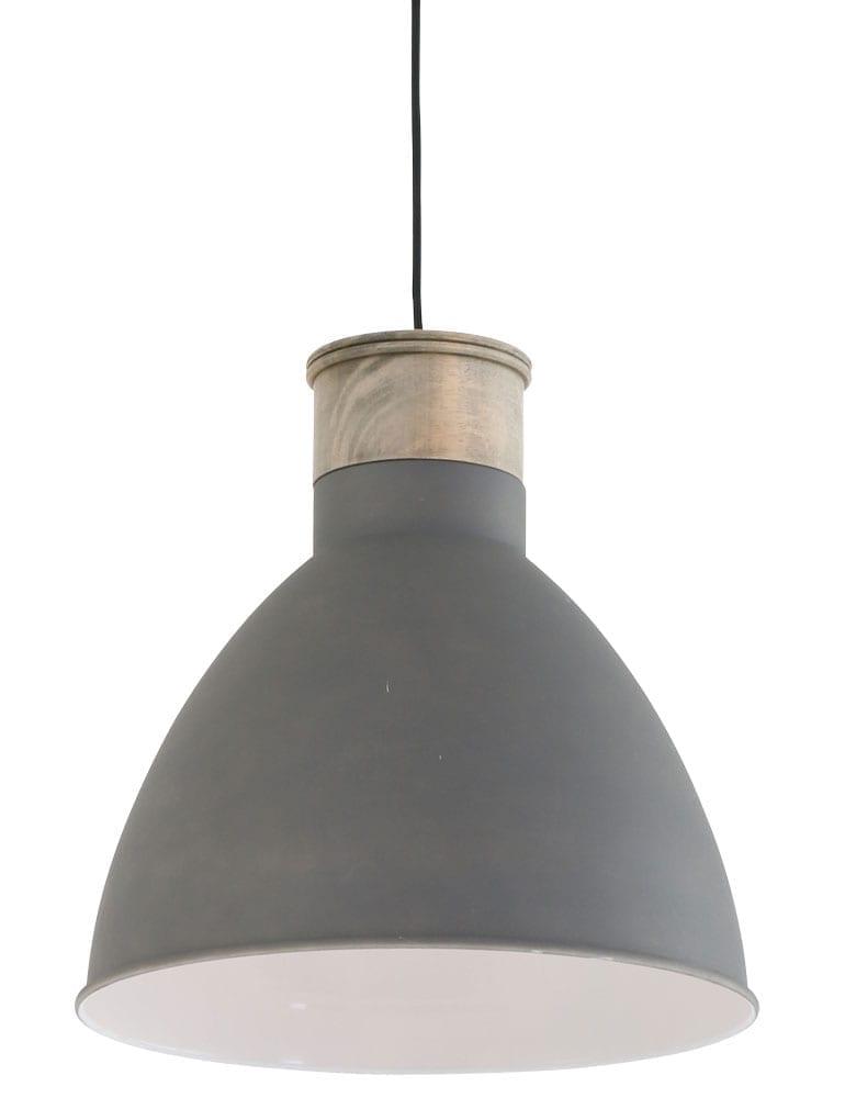Beton grijze hanglamp met houten blok  Directlampennl