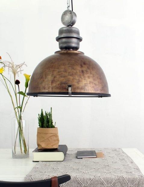 Robuuste hanglamp Steinhauer Bikkel XXL bruin 52 cm