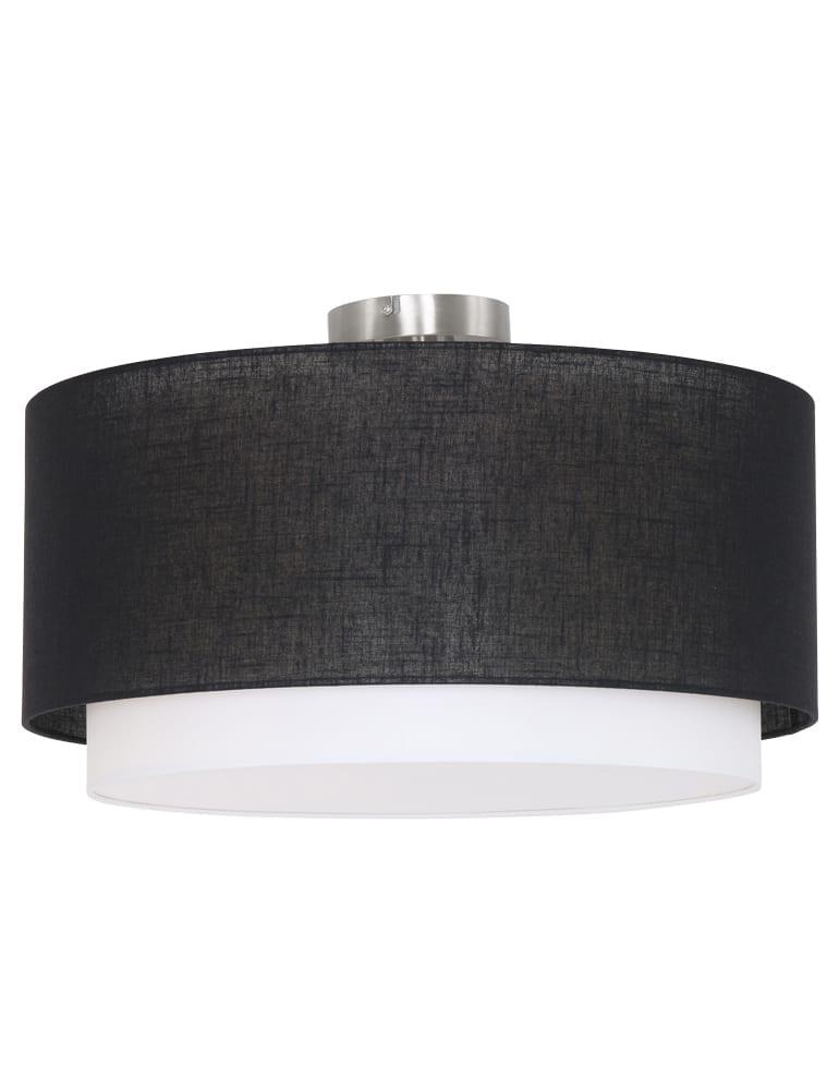 Plafondlamp stoffen kap Freelight Verona zwartwit