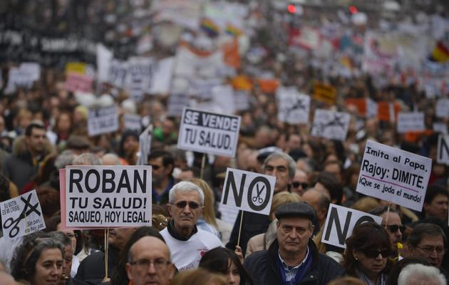 Manifestation à Madrid contre les coupes budgétaires, le 17 février 2013 [Pedro Armestre / AFP]