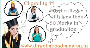 MBA colleges with less than 50 Marks in graduation