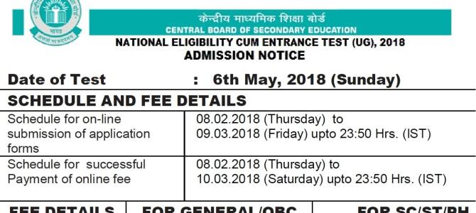 NEET UG 2020 Admission Notice