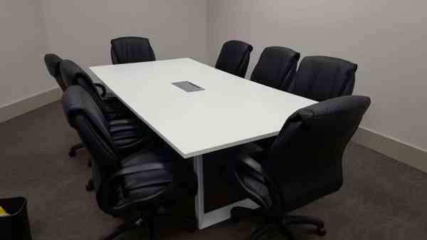 Custom 10 Foot Rectangular Conference Table With White Metal Leg - Direct Office Solutions
