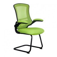 Luna Visitors Chair with Black Frame Green