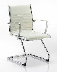 Ritz Leather Cantilever Visitor Chair in White