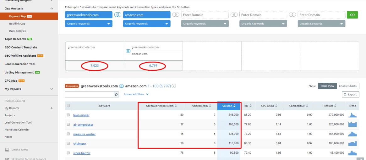 gap analysis versus amazon.com
