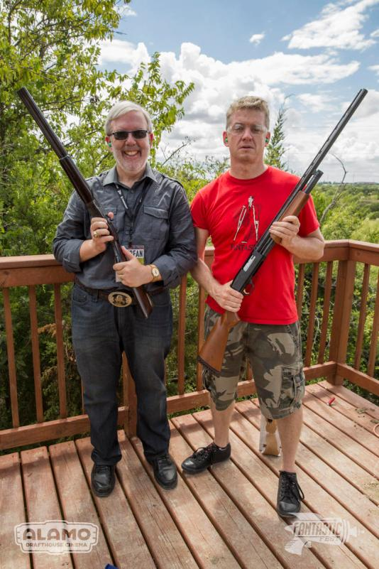 Leonard Maltin and Alamo Drafthouse CEO, Tim League flex their guns. (Photo by Rick Kern)