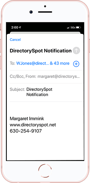 DirectorySpot smartphone email notification